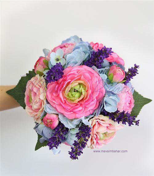 Gelin Çiçeği Mavi Ortanca Fuşya Güller