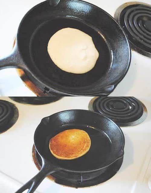 Septième étape de la recette facile des pancakes maison, dorez les pancakes des deux côtés.