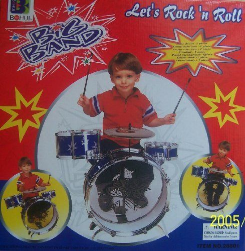 "New Child Kid Toy Kids Big Band Drum Set Toy Drum-Blue by Shoparound168. $49.99. Drum = 14"". Set = 23"". 8 Pieces Girls/BOYS Drum Set. Age Group: 3 - 5 Years Old. Chair = 10 "". Bass Drum - 1 Piece Small Tom Tom - 1 Piece Large Tom Tom - 1 Piece Symbol - 1 Piece Pedal Mechanism - 1 Piece Drum Stick - 2 Piece Stand Chair - 1 Piece for age 3 and up (1) 15-inch-diameter bass drum, as well as (1) 8-inch-diameter large tom tom, (1) 6- inches-diameter small tom tom, (1) 6"" cymbal ..."