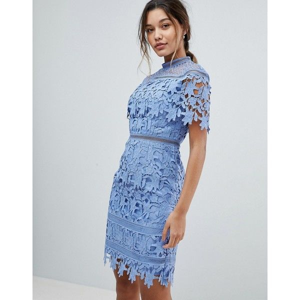 Chi Chi London Lace High Neck Pencil Midi Dress (140 CAD) ❤ liked on Polyvore featuring dresses, blue, midi dress, midi cocktail dress, lace bridesmaid dresses, blue lace dresses and bridesmaid dresses
