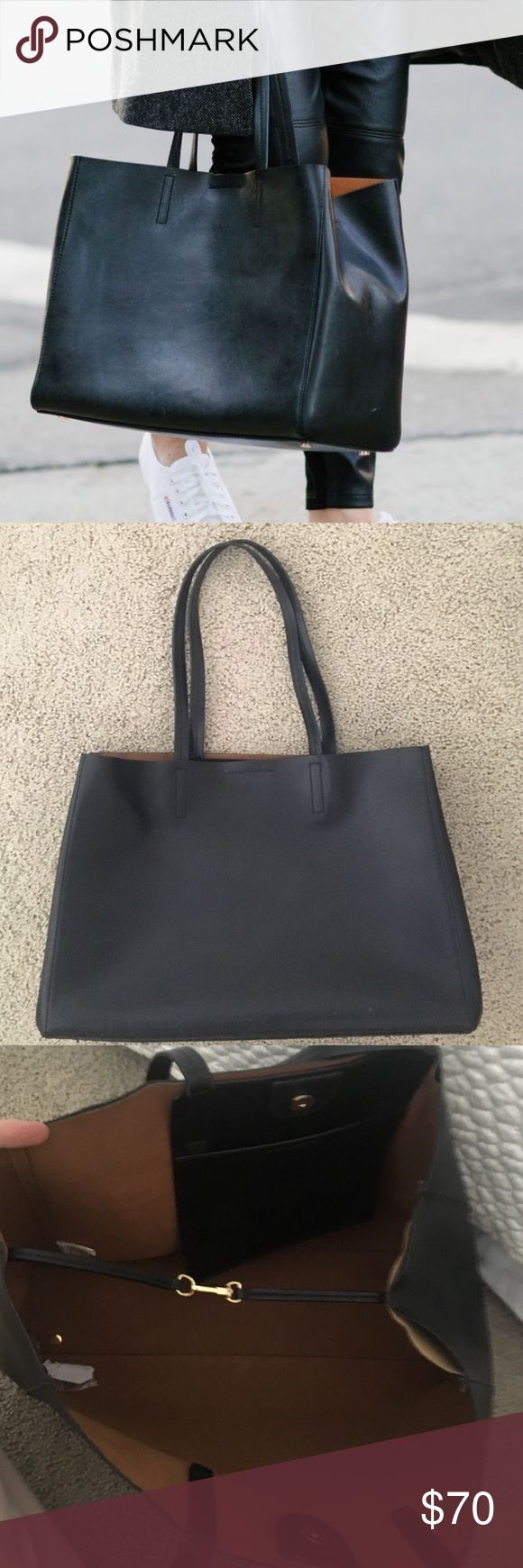 Banana Republic Black Leather Tote Bag Banana Republic black leather tote bag with gold hardware . Pocket inside and snap closure. Shows wear as shown in picture but could easily be repaired/glued! This bag is beautiful and still has lots of life! Banana Republic Bags Totes
