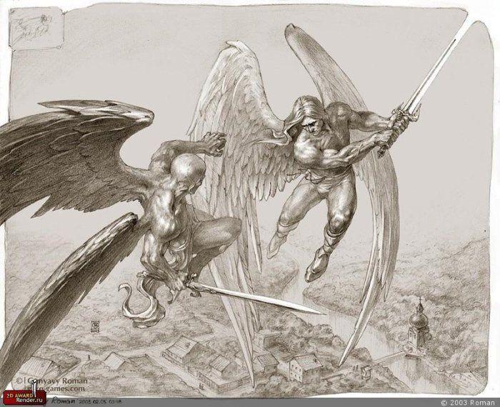 М. Врубель. Демон и ангел с душой Тамары