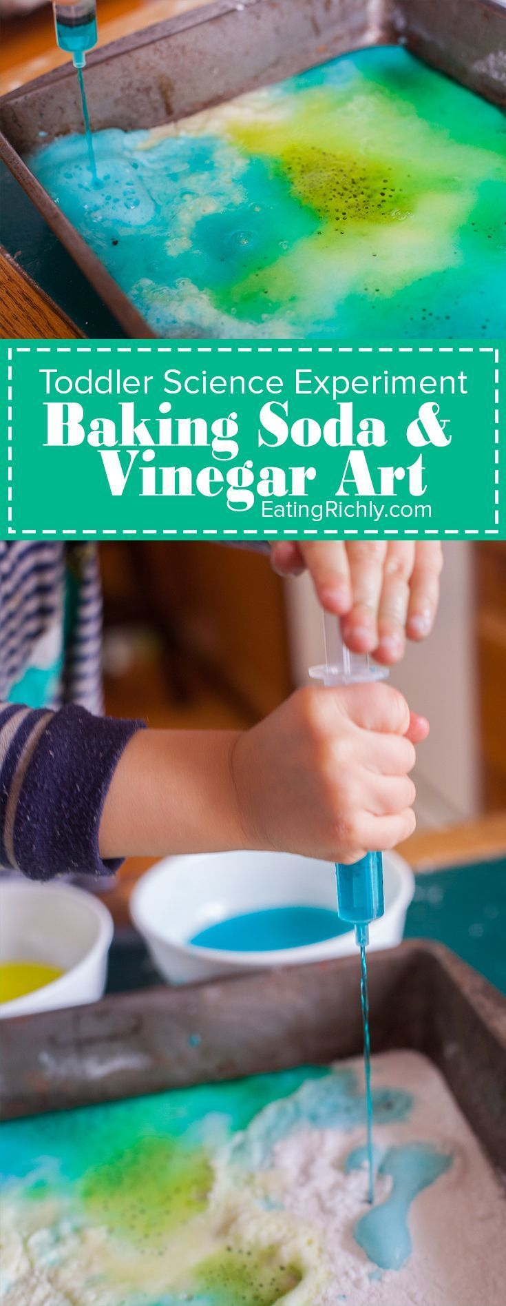 This toddler science experiment teaches how baking soda and vinegar react, while…