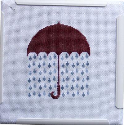 Raining Umbrella CrossStitch Pattern by hardcorestitchcorps, $3.00