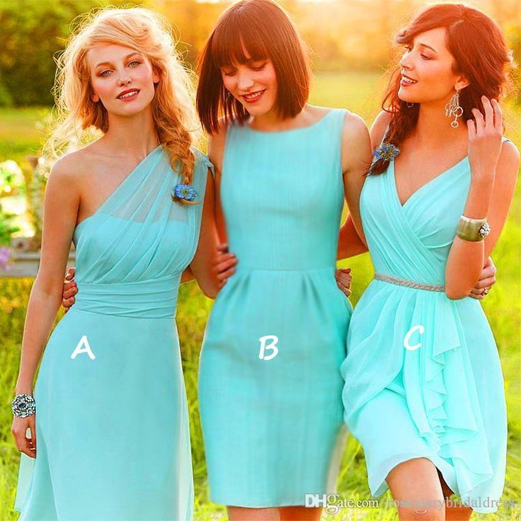 Vestidos One Shoulde V Neck Knee Length Mint Green Chiffon Bridesmaid Dress With Crystal Sash Beach Bridesmaids Wedding Party Cheap