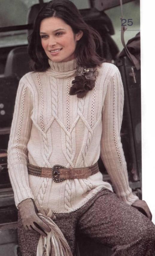 Вяжем спицами свитер с косами: Нежный бежевый свитер с косами и воротником-стойкой - описание и схема