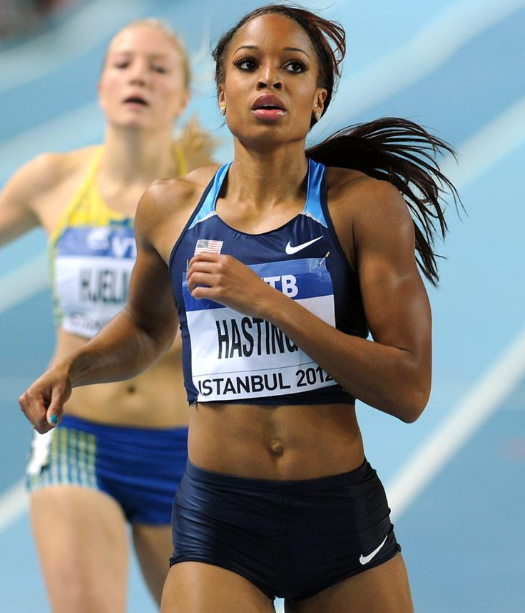 Natasha Hastings of the US looks at the scoreboard after winning heat 1 during the women's 400m semi-final at the 2012 IAAF World Indoor Athletics Championships at the Atakoy Athletics Arena in Istanbul on March 9, 2012.