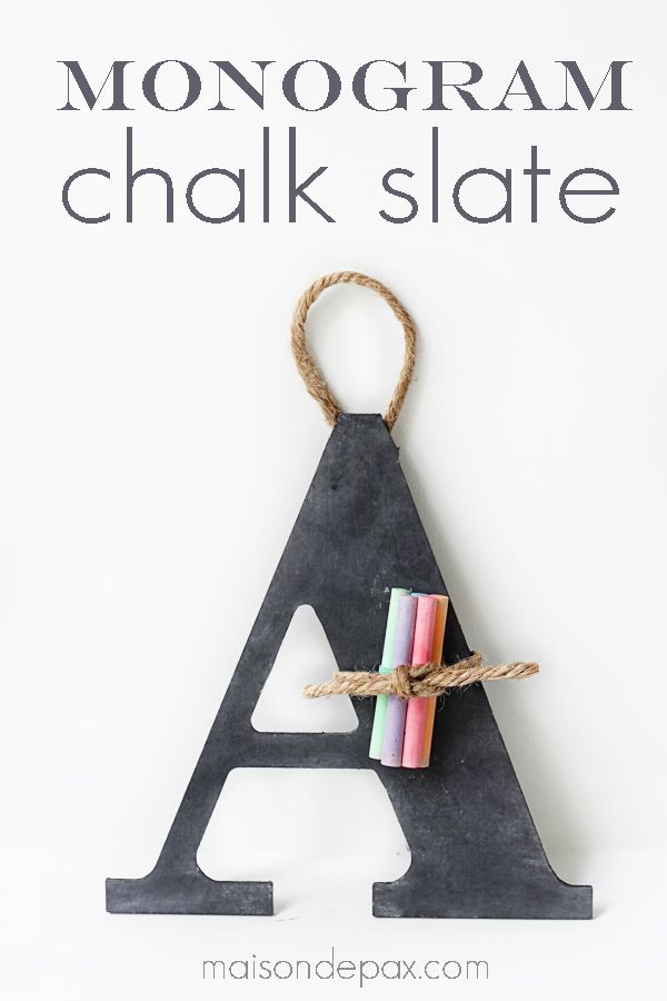 Monogrammed Chalkboard Slates are perfect for a toddler on-the-go | DIY Chalkboard Crafts
