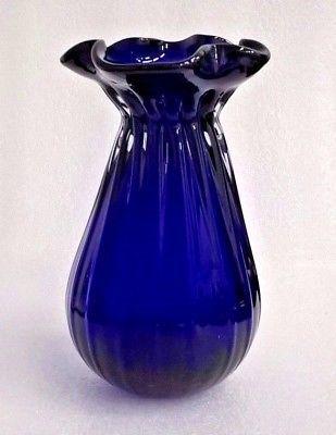 Vintage Gorgeous Designs Cobalt Blue Glass Vase Hand Blown Blue