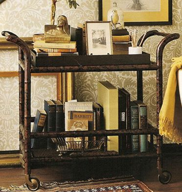 Turn that bar cart into a book cart!  How bad do you want to curl up next to this thing?! BHG, January 2006.