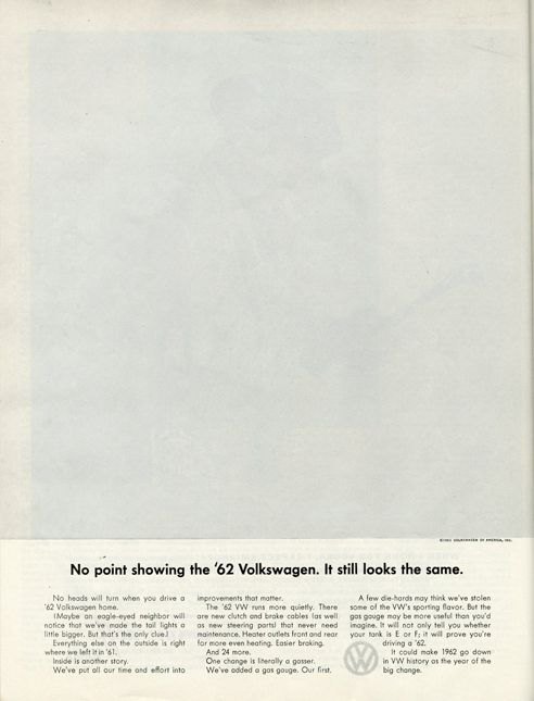 For Volkswagen created by Helmut Krone at Doyle Dane Bernbach