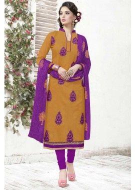 Mustard Chanderi Churidar Suit, -  £52.00,  #Churidarsuitsuk  #Onlinechuridaruk  #Churidaruk  #Bhagalpurisilkchuridar  #Shopkund