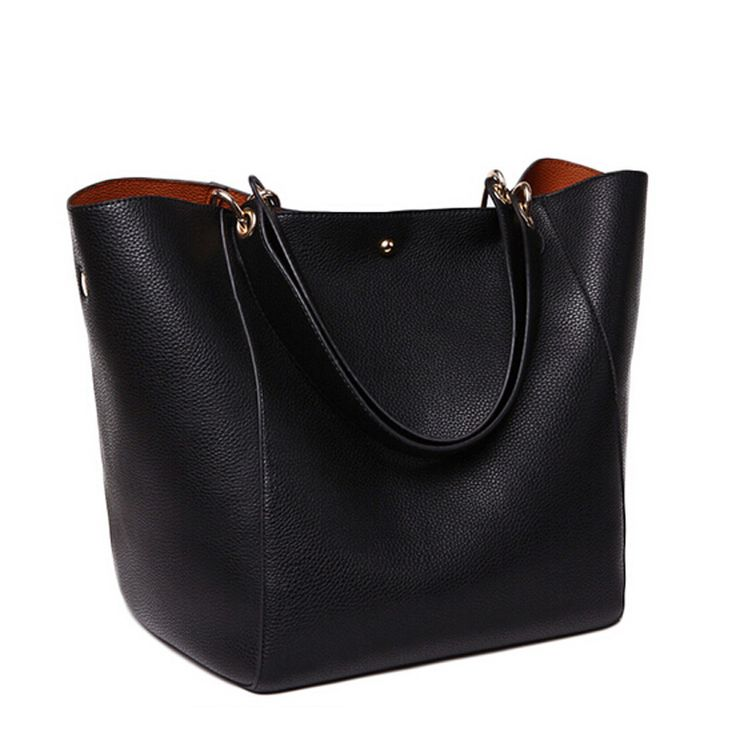Female Genuine Leather Bag Ladies Black Shoulder Bag Designer ...