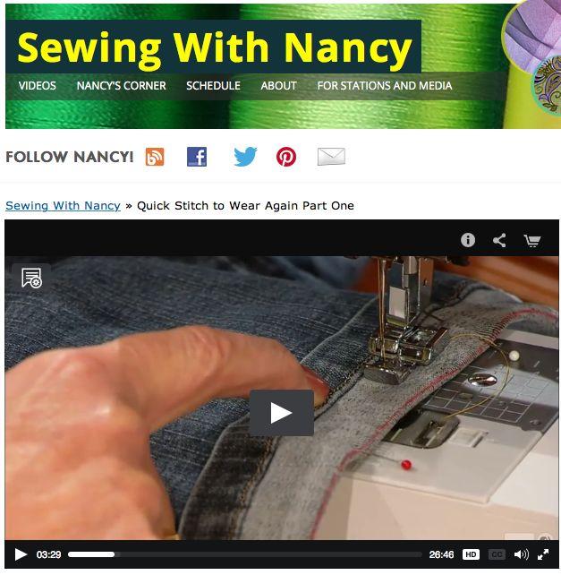 How to shorten jean/How to repair zippers/Nancy Zieman/Sewing With Nancy