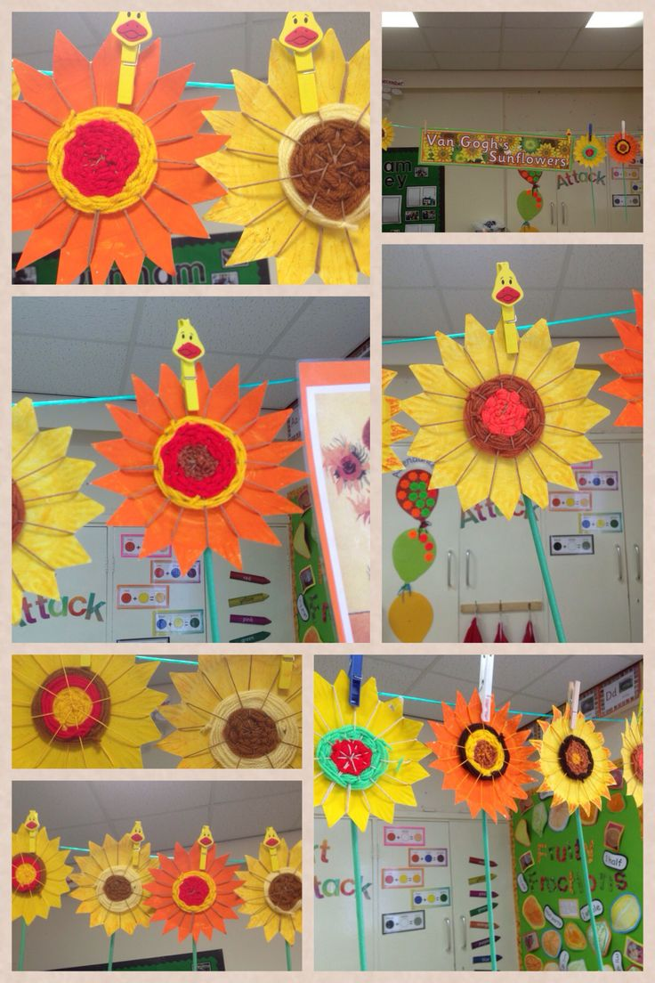 Van Gogh sunflowers. Paper plate weaving by year 1.