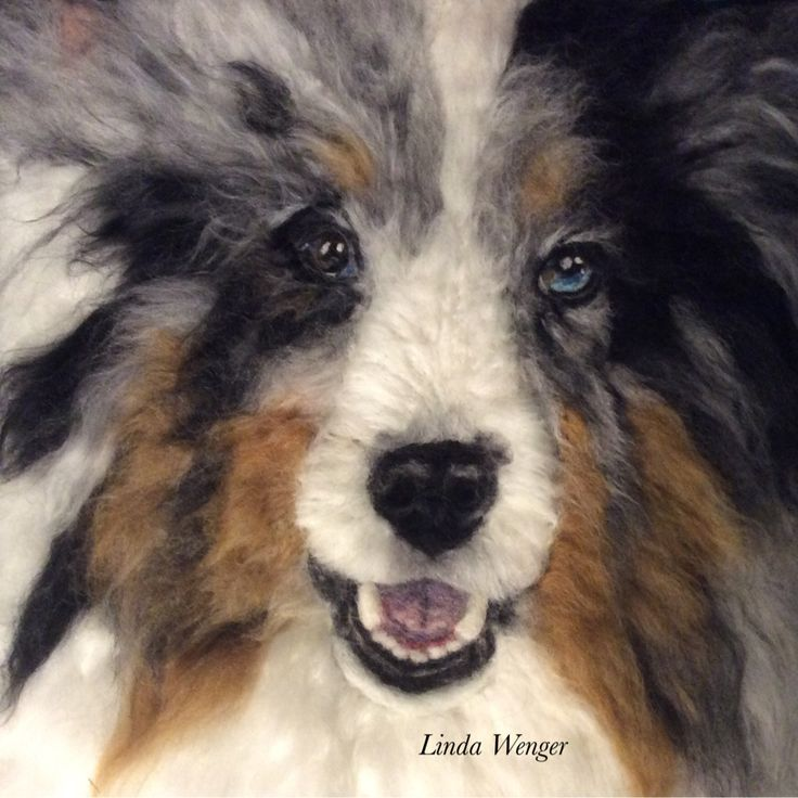 Needle felted 2D portrait by Linda Wenger