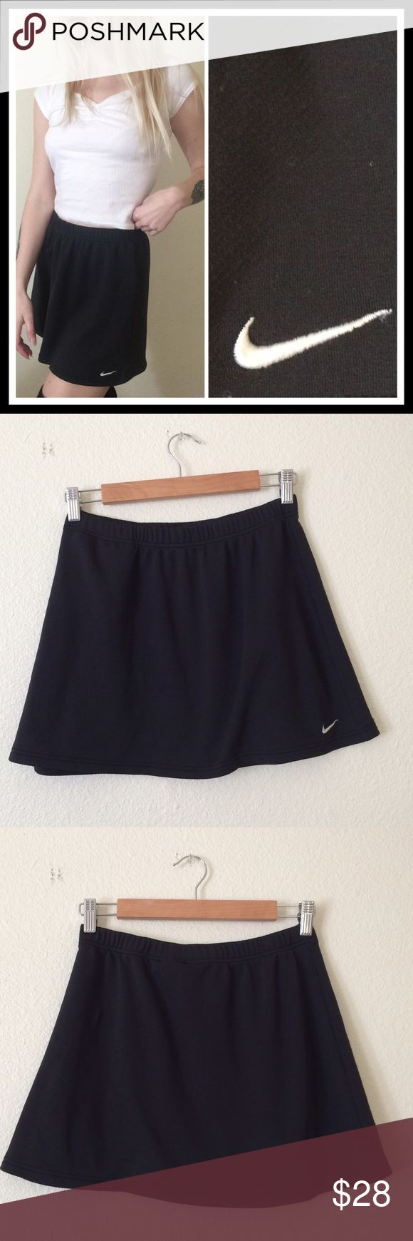 "•90's VTG Nike Athletic Mini Skirt• •MEASUREMENTS• Waist- 26"" Length- 14""  •DETAILS • •Model is 5' 5"" and is a size XS• Elastic waistband• A little big on model (who has a 24"" waist for reference) but still wearable• Minimal pilling in some spots (example pictured)• tagged as size Small (4-6)•  ••NO TRADES•• #90s #grunge #goth #workout #athletic #skirt #minimal #simple #tennis Nike Skirts Mini"