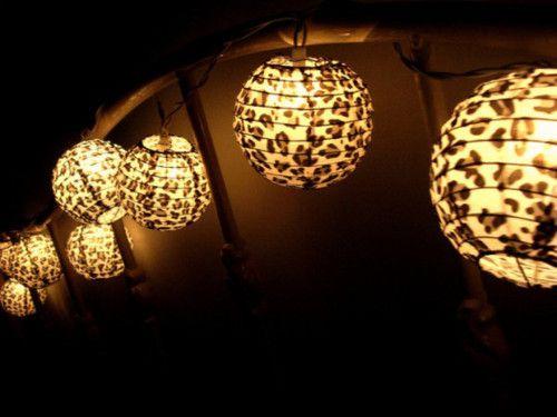 Cheetah print lanternsOutside Parties, Trav'Lin Lights, Paper Lanterns, New Room, Zebras Prints, Leopards Prints, Animal Prints, Theme Room, Cheetahs Prints