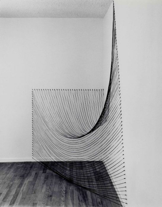 """""""Installation with Black String"""" by Dianne Romaine and Sabine Reckewell"""