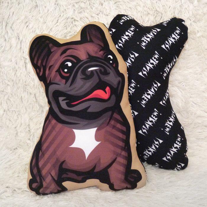 Decorative Dog Pillow Cushion French Bulldog Brindle cuddly mascot by PSIAKREW on Etsy
