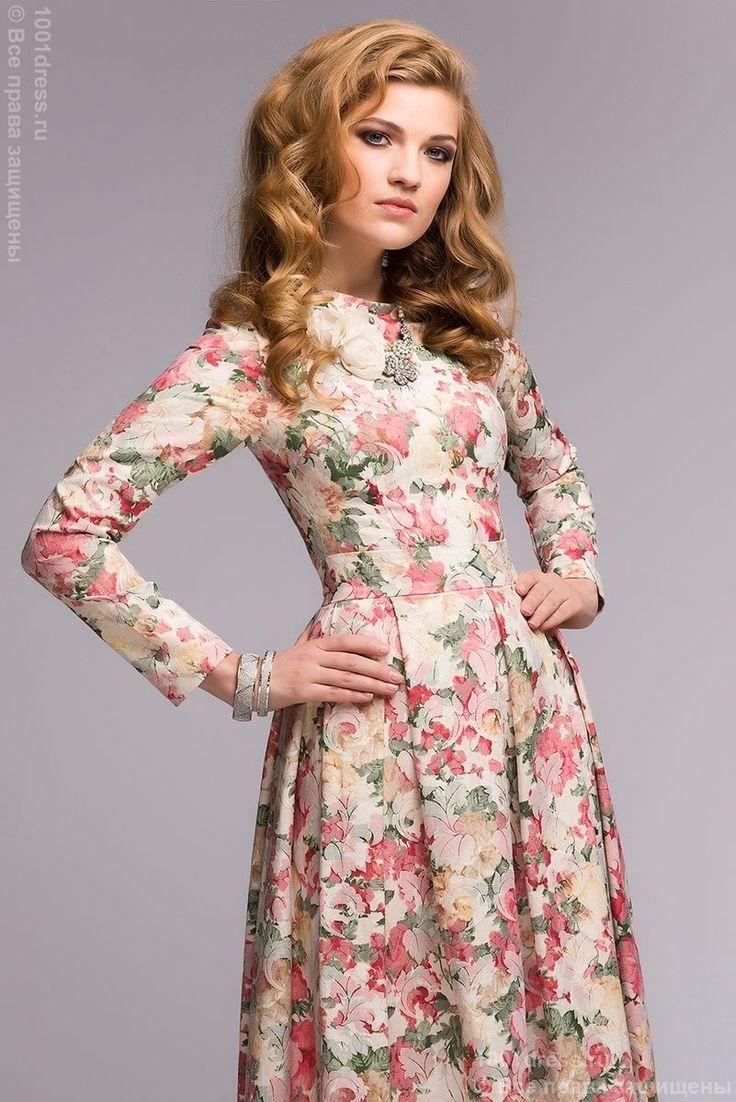 Длинное платье ванильного цвета с цветочным принтом и длинными рукавами в интернет-магазине 1001DRESS