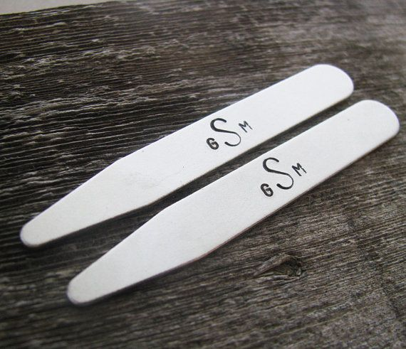 personalized shirt collar stays hand stamped by juliethefish