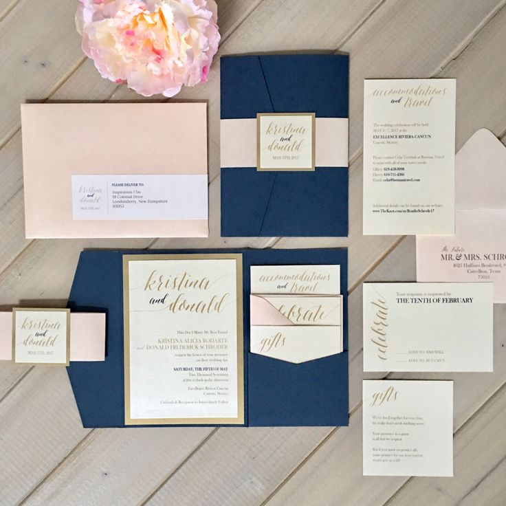 Navy Blush And Gold Wedding Invitations Pale Pink