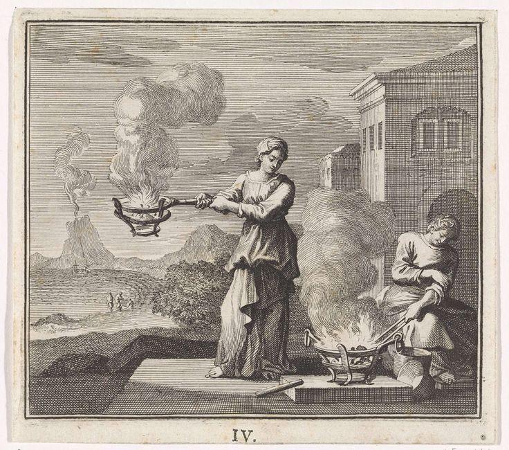 Caspar Luyken | Embleem: vuur, Caspar Luyken, Christoph Weigel, 1695 - 1705 | Een man en een vrouw staan rond een vuurkorf. De vrouw heeft een vuurpan in haar handen. Op de achtergrond een landschap met een vulkaan.