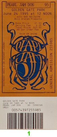 Pearl Jam Vintage Ticket - Wolfgang's Vault has the largest selection of vintage t-shirts, rock posters, rock and roll tee shirts, concert posters, concert tees, band photos, rock n' roll memorabilia and vintage concert apparel.