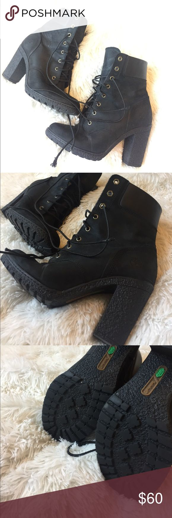 Timberland heel boots Gently used as seen the shoe laces & minimal creasing Timberland Shoes