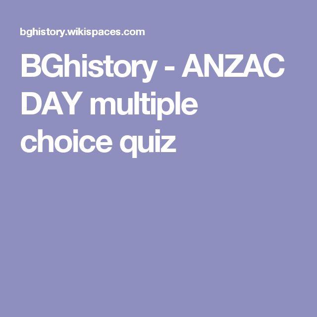 BGhistory - ANZAC DAY multiple choice quiz