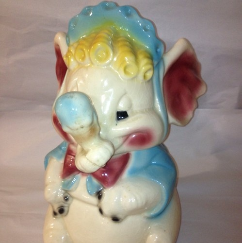 Early mccoy w8 w 8 baby elephant cookie jar blue hat blond red ears ice cream cone vintage - Vintage elephant cookie jar ...