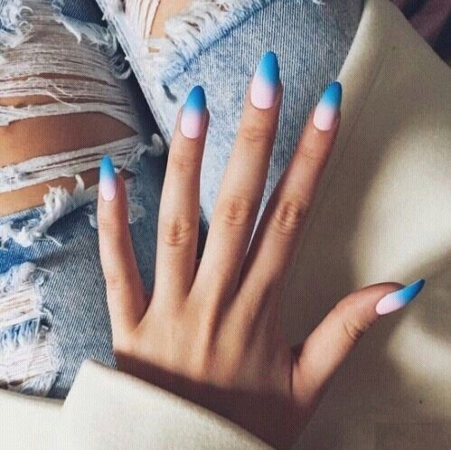 grafika nails, blue, and pink