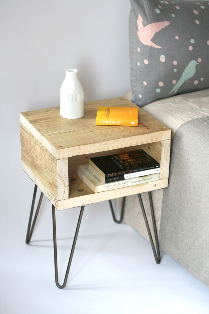 Blondie bedside table. Handmade side table made from reclaimed wood. Scandinavian look with mid-century modern style hairpin legs by LaMaisonDeFurniture on Etsy https://www.etsy.com/uk/listing/470717545/blondie-bedside-table-handmade-side