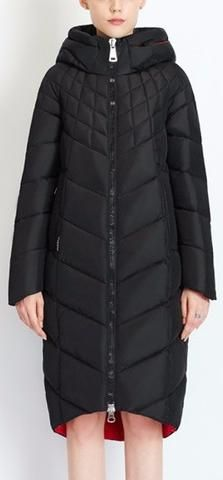 Hooded Webbed Puffer Down Coat in Black
