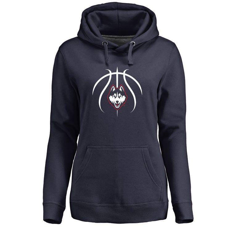 Women's Navy UConn Huskies Basketball Personalized Backer Pullover Hoodie