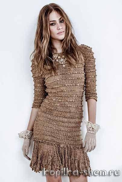 Интересное платье крючком. Схемы вязания