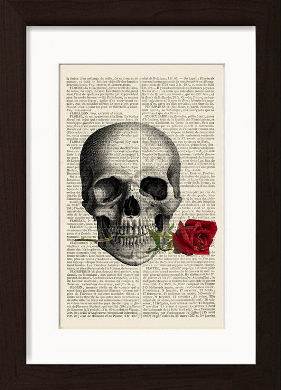 Skull with Rose In Teeth Print on vintage French English Dictionary Page Each page is approx. 150mm x 220mm 6 x 8.5inches No two Forgotten Pages prints will ever be the same, the actual page you will receive may be different than that shown in the listing, but it will come from a