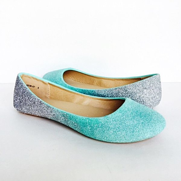 Glitter Flats Robins Egg Silver Ombre Aqua Turquoise Grey Shoes Blue... (625 NOK) ❤ liked on Polyvore featuring shoes, flats, ballet shoes, silver, slip ons, women's shoes, flat wedding shoes, grey flats, gray ballet flats and silver sparkly flats