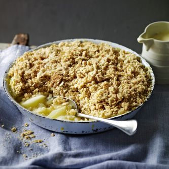 Nigel Slater's crumble balances tart Bramley apples with a topping that's made extra crunchy by demerara sugar and oats