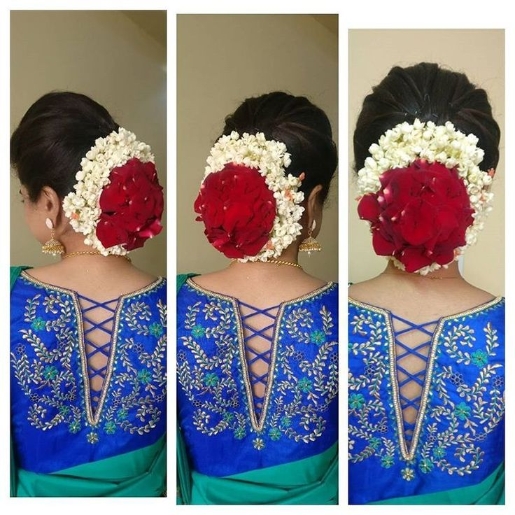 What a beautiful large low bun with rose flowers & gajra! Care however should be taken before adopting such hairstyles, as due to it's high static charge, it will cause phlegm to move up in the throat, causing the voice to quaver & a frequent urge to clear the throat. A heavy chabi chhalla with a long & wide hook if inserted at the edge of the pleats of the saree, will reduce this problem as it's hook will activate the acupressure points that act to keep the throat clear.