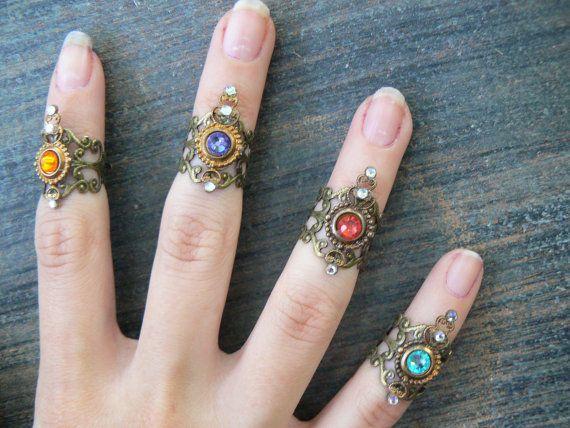 Swarovski midi ring CHOOSE ONE armor ring knuckle ring nail ring claw ring tip ring vampire goth victorian moon goddess pagan boho gypsy by gildedingypsy | Smoked Glass Goggles