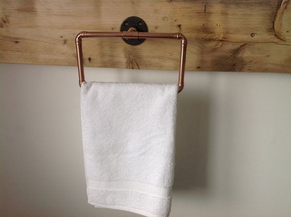 Copper pipe towel ring Industrial/Modern by AJdeZign on Etsy