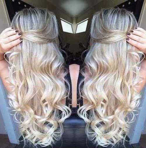 imagem de mega hair tic tac loiro