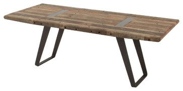 I like the way the metal comes through the top of the table.    Industrial Reclaimed Dining Table 85 eclectic dining tables