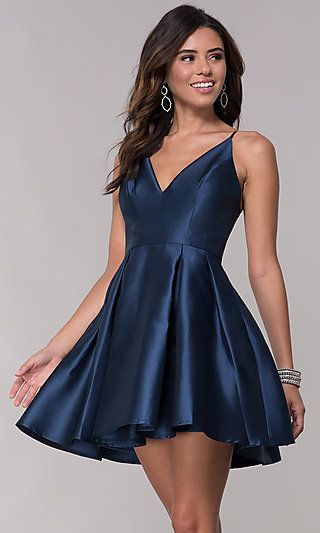 4521975022 Fit-and-Flare Short V-Neck Homecoming Party Dress