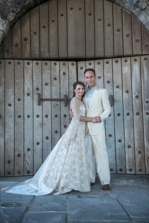 Handcrafted bridal dress and suit.