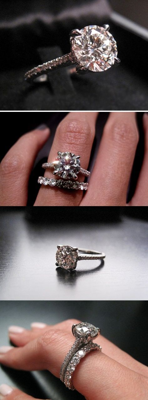 love this engagement + wedding ring pair