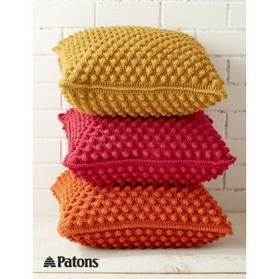 Bobble-licious Pillows, a comfy way to bring vibrant color into any room: FREE crochet pattern