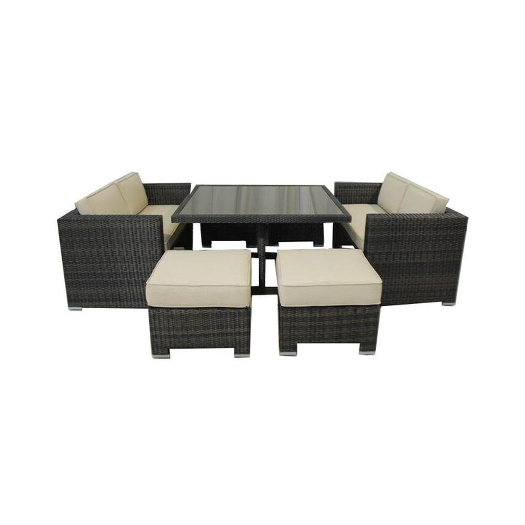 Order Kontiki Dining Sets   Wicker Small (Ideal For 4 Seats) Monte Carlo 7  Piece Love Seat Dining Set, Delivered Right To Your Door.